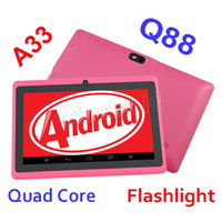 Wholesale q88 android tablet pc mid for sale - Group buy Q88 Q8 A33 Quad Core tablet pc quot inch Allwinner Android Kitkat Capacitive MB GB Dual camera colorful MID Flashlight Free DHL