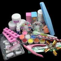Wholesale Pro Form - Wholesale- ATT-140 Pro Nail Art Set Acrylic Liquid Glitter Powder File Brush Form Tips Tools Kit at free shipping
