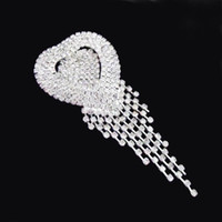 Wholesale Long Indian Wedding Dresses - 3.6 Inch Long Crystal Chains Pendent Silver Heart Brooch Wedding Bridal Bouquet Jewelry Accessories Dress Brooch Pins High Quality 4PCS LOT