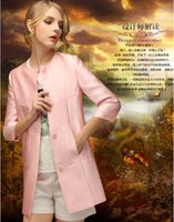 Wholesale Sxey Women - New Autumn Style Women Fashion Single-breasted Long Trench Coats Ladies Sxey Slim Round Neck Woolen Coats Girls Casual 3 4 Sleeve Surcoat