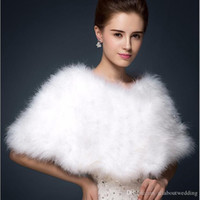 Wholesale Long Ostrich Feathers White - Luxurious Ostrich Feather Bridal Shawl Fur Wraps Marriage Shrug Coat Bride Winter Wedding Party Boleros Jacket Cloak