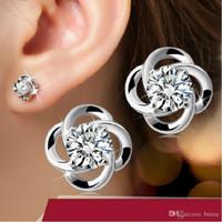Wholesale Earrings Titanium Flowers - Earrings s925 sterling silver earrings rotation love upscale retro female models selling sterling silver jewelry