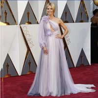 Wholesale Heidi Klum Purple Dresses - 2016 Oscar Evening Dresses Heidi Klum One Shoulder Long Sleeves Tulle with Flowers Formal Celebrity Red Carpet Gowns Sexy Keyhole Neck Cheap