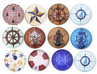 glassteine für ringe groihandel-Neue Ankunft 18mm Cabochon Glas Stein Tasten Nautical Shipwheel Compass Tasten für DIY Snap Schmuck Armband Halskette Ring Ohrring