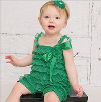 bebek kızı petti dantelli rompers toptan satış-10% kapalı Sevimli bebek erkek / kız petti dantel romper yenidoğan Bebek Tulum çocuk tulum çocuk giyim seti, 2 adet elbise + 2 adet hairband, 2 takım / DF