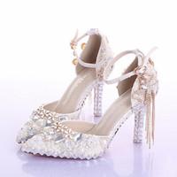 fildişi inci elmas taklidi gelinlik ayakkabıları toptan satış-Sivri Burun Ayak Bileği Kayışı Çizmeler Gelin Ayakkabıları Fildişi Inci Düğün Parti Elbise Ayakkabı Rhinestone Düğün Olaylar Balo Ayakkabı için Pompalar