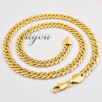 Wholesale 7mm Rope Chain - New Fashion Jewelry Mens Womens 7mm 18K Yellow Gold Filled Necklace Curb Cuban Link Chain Gold Jewellery Free Shipping C03 YN