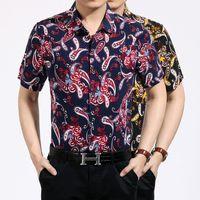 Wholesale Men Button Down Shirts Wholesale - cotton hawaiian shirt for men short sleeve Paisley Print bandana shirt Graphic Streetwear men floral shirt