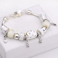 Wholesale Toggle For Glasses - Wholesale 10 style 925 silver glass Beads snake chain Fit Pandora Charm Bracelet For Women Friendship pulseira feminina Braceletes