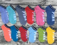Wholesale Sexy Sport Underwear Women - Wholesale Pink Letter Socks Anklet Sports Hosiery Cotton Fashion Short Socks Slipper Girl Sexy Love Pink Ship party Socks Summer Underwear