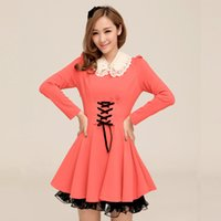 Hiver 2014 New Band Tempérament femmes Sauvegarde coréenne Cultivating Flounce Robe manches longues Taobao Agent FG1511