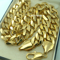 Wholesale Necklace 18k Solid Gold Filled - Heavy Men's 18k gold filled Solid Cuban Curb Chain necklace N276 60CM