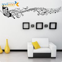 Wholesale Musical Butterfly Wall Vinyl - Musical note Butterfly for for kids rooms wall decal ZooYoo033A decorative adesivo de parede removable pvc wall sticker 4.0