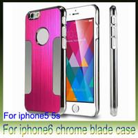 gehäuseboden chrom großhandel-Luxus aus gebürstetem Metall, Stahl, Aluminium-Chrom-Kästen für iPhone6 4,7 5,5-Zoll-iPhone 6 Plus 5s Telefon harter Rückendeckel-Fall