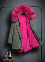 Wholesale New Fox Fur Collar - new fashion women luxurious Large raccoon fur collar hooded coat warm Fox fur liner parkas long winter jacket detachable lining outwear
