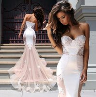 Wholesale lace overlay dress train resale online - Enchanting Mermaid Evening Dresses Celebrity Gown White Lace Overlay Organza Trimed Court Train Formal Gowns Prom Dress Party Gown