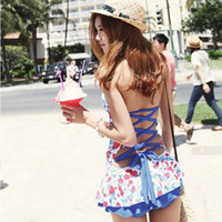 Wholesale covering belly swimsuit - 2015 Korean manufacturers wholesale sexy swimsuit spa drain back dress fashion style skirt was thin piece swimsuit cover the belly A062346