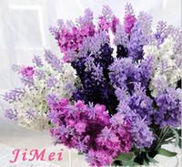 Wholesale Wholesale Lilac Silk Flowers - Lavender Bush Bouquet Simulation Silk Artificial flower Lilac & Purple & White Wedding   Home 10 Lavender 4 colors