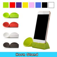 Wholesale Horn Stand Amplifier Speaker - Wholesale-Portable Silicone Horn Stand Amplifier Louder Speaker Case for Apple iPhone 6 4.7