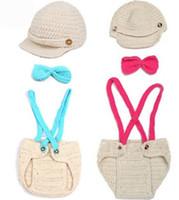 Wholesale crochet baby boy pants resale online - Baby Boy Girl Infant Crochet Knitted Hat and Pants newborn Children Kids Photographer Prop Clothing