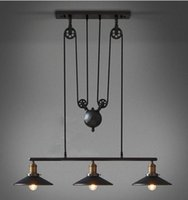Wholesale Glass Wrought Iron Chandelier - Stocks In US Loft Vintage Retro Wrought Iron Black Chandelier Adjustable Pulley Industrial Lamp Light Mirror Fixtures