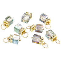 "Wholesale Clear Faceted Charms - Copper Charm Pendants Cube Gold Plated Clear Rhinestone AB Color Glass Faceted 20.0mm( 6 8"") x 9.0mm( 3 8""), 10 PCs 2015 new"