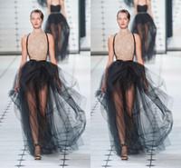 faldas negras calientes al por mayor-Ruffles Puffy Sexy Black Maxi Faldas Sheer palabra de longitud faldas para las mujeres de moda de moda caliente vestidos de cóctel Tutu falda de tul