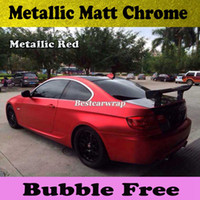 Wholesale Car Sticker Chrome - 3M Quality Chrome Satin Red Vinyl Car wrapping with Air Bubble Free Chrome red Matt Film Vehicle covering Sticker foil size1.52x20m Roll