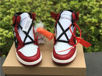 Wholesale X Hot Golf - Hot Air Retro 1 X Off White Chicago X Off White Man Basketball Shoes Sneakers Red White Basketball Sneaker Jiont Limited Shoes