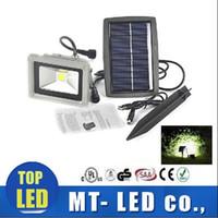 Wholesale Outdoor Led Lights 24v - new 10W Solar Power LED Flood COB Night Light Garden Spotlight Waterproof Outdoor floodlight project lamps