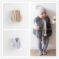 Wholesale Cute Feather Vest - Baby Girls Faux Fur Vest Fox Fur Waistcoat Jacket 2015 Autumn Winter Children Fashion Outwear Kids Clothing Babies Clothes Cute Girl Vests