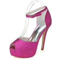Wholesale Gold Heels For Bridesmaids - 3128-27 Gorgeous Fuchsia Wedding Shoes Pumps Size 12.7cm Waterproof 2.8CM Bridesmaid Shoes Party Pageant Bridal Shoes For Women Fashion