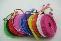 Wholesale Galaxy S3 Ribbon - 1M 2M 3M Ribbon Micro USB Charging Cable for GALAXY S4 S3 Note 2 Sony LG HTC , Flat Data Sync Charger Line Multi Color