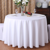 Wholesale White Polyester Tablecloths Round - 1PC 19 colors Polyester Fabric Solid Round White Table Cloth For Hotel Wedding Party Decoration Rectangle Tablecloth For Home