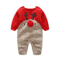 Wholesale Foreign Money Clothing - Autumn winter children's new children's deer wool ball baby cotton line crawling clothing for foreign trade money baby open crotch sweater
