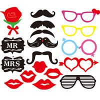 Wholesale Wedding Favors Glass Photo - Rose Beard Glasses Wedding Photo Props Booth DIY Christmas Party Decoration Props Booth Wedding Gift Favors SD816