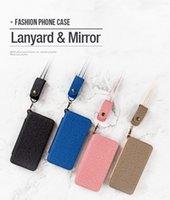 estojos de corda venda por atacado-Novo telefone shell chapeamento espelho 8 coldre de telefone celular corda de suspensão espelho de silicone caixa macia