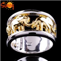 Wholesale Elephant Ring Gold White - Retail &wholesale Sz7 8 9 10 Fashion Jewellery elephant gentlemen's14KT white Gold Filled Ring