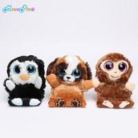 büyük doldurulmuş hayvan maymunları toptan satış-3 adet / takım YENI büyük gözler telefon tutucu Temizleyici koltuk Dolması Hayvan Penguen penni maymun şempanze köpek yavruları peluş oyuncaklar