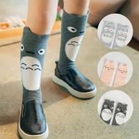kore bebek erkek giyim toptan satış-Totoro Baykuş Kedi Çocuk Giyim Bebek Giyim Kore Bebek Çorap sonbahar Çocuklar Erkek Kızlar Için Tığ Çorap Örgü Diz Yüksek Çorap C13468