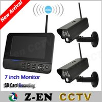 "Wholesale Wireless Digital Cctv 4ch - 2.4GHz 4CH Digital Wireless CCTV Camera 7"" TFT LCD DVR Quad PIR Alarm Night Vision Home&Office Security System DHL Free"