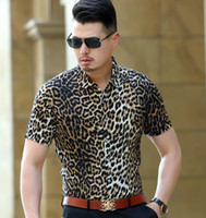 Wholesale silk trend fashion - European and American style leopard printing fashion trend men shirt Summer new arrival cotton silk short sleeve shirt S-XXL