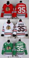 jersey tony esposito al por mayor-Tony Esposito # 35 Jerseys de hockey Chicago Blackhawks para hombre de los hombres Jersey negro blanco rojo Colores Jerseys de hockey baratos al por mayor