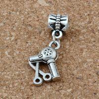 Wholesale Hair Stylist Scissors - MIC .100pcs lot Dangle Ancient silver Scissors Blow Dryer Hair Stylist Charm Big Hole Beads Fit European Charm Bracelet Jewelry 29x14mm