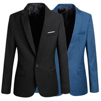 Wholesale Wholesale Jacket Buttons - Fashion Stylish Men's Casual Slim Fit One Button Suit Blazer Coat Jacket Tops