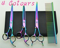 Wholesale Japan Hair Scissors Brand - Wholesale- 7'' 19cm Brand Purple Dragon 683BA# Hairdressing Scissors Dogs Cats Cutting Scissors Thinning Shears Pets Hair Scissors Suit