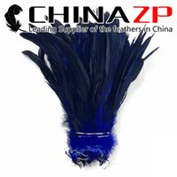 Wholesale Bronze Rooster - Gold Supplier CHINAZP Crafts Factory 800 pieces per lot Good Quality Dyed Navy Half Bronze Strung Rooster Tail Chicken Feathers