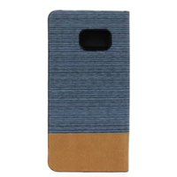 Wholesale Dual Jeans - For Samsung Galaxy S7 G930 G9300 S7 Edge J510 J5 2016 Dual Color PU Flip Wallet Leather Pouches Case Canvas Jeans Wood Card Stand Book Cover