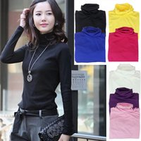 Wholesale Turtleneck Long Sleeve Shirt Girl - New Fashion Girls Womens Turtleneck Long-Sleeve T shirt Solid Sweater Tops Pullover Just for you