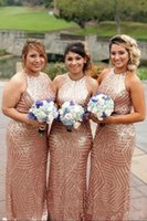 Wholesale Red Sparkle Bridesmaid Dresses - 2018 Sparkle Rose Gold Sequined Bridesmaid Dresses Jewel Neck Sheath Floor Length Maid Of Honor Gowns Plus Size Wedding Guest Wear